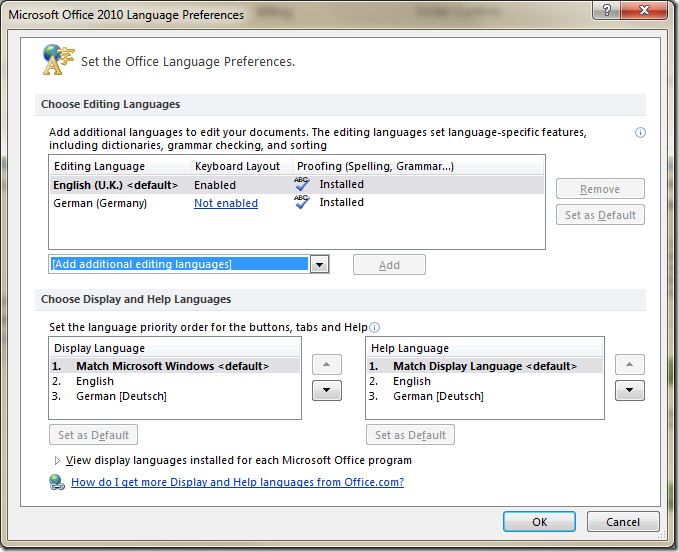 Office language settings dialog